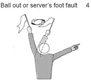 Ball out or server's foot fault.\