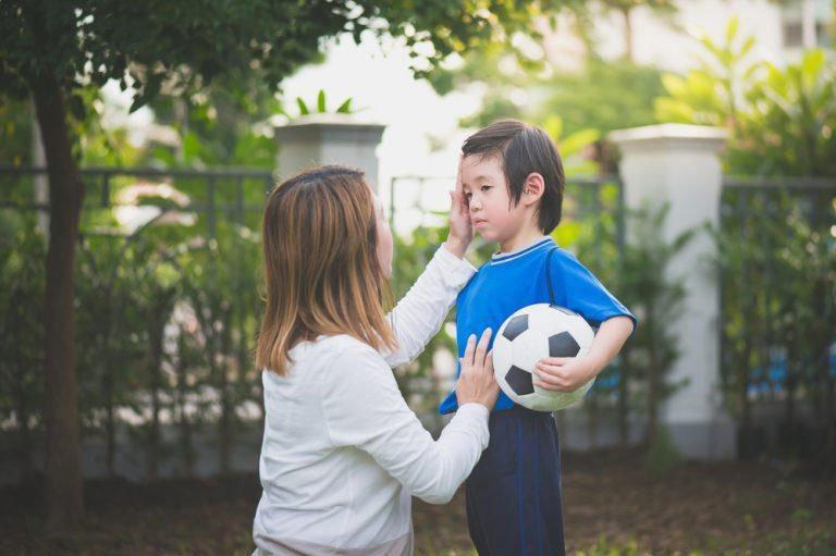 Parent talking to child