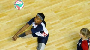 Sitting volleyball player Kari Miller