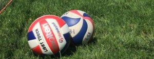 Volleyballs on grass