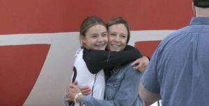 Girl and mom hugging