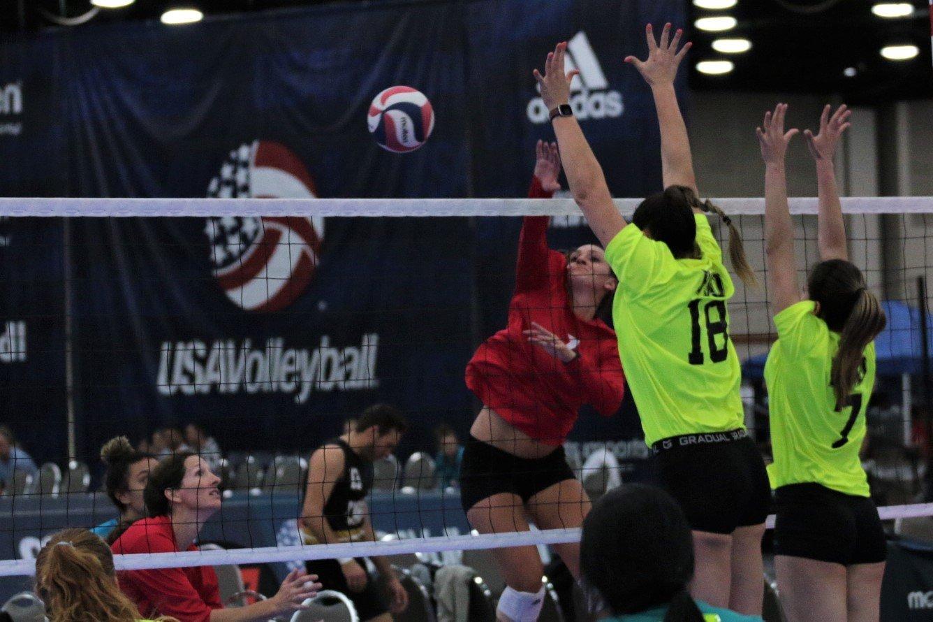 2021 USA Volleyball Open National Championship woman hitting past block