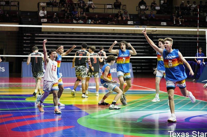 Boys on court celebrating win