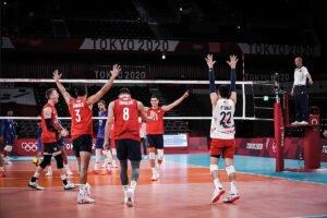 U.S. Men's Olympic Team celebrates vs. France