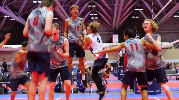 Boys celebrating on the court