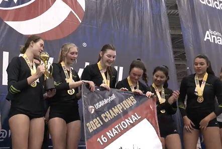 Girls holding banner