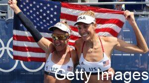 April Ross and Alix Klineman with American flag