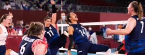 U.S Women's Sitting Team celebrate a point at the Paralympics