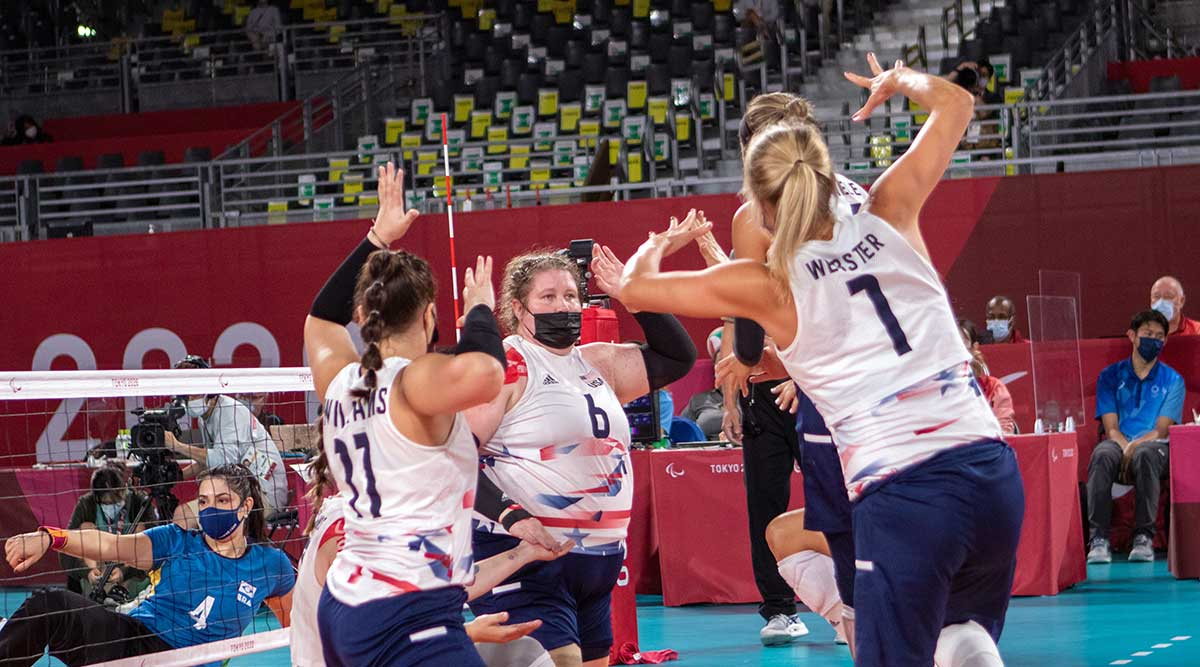 U.S. Women's Sitting Team playing in the Paralympic Games
